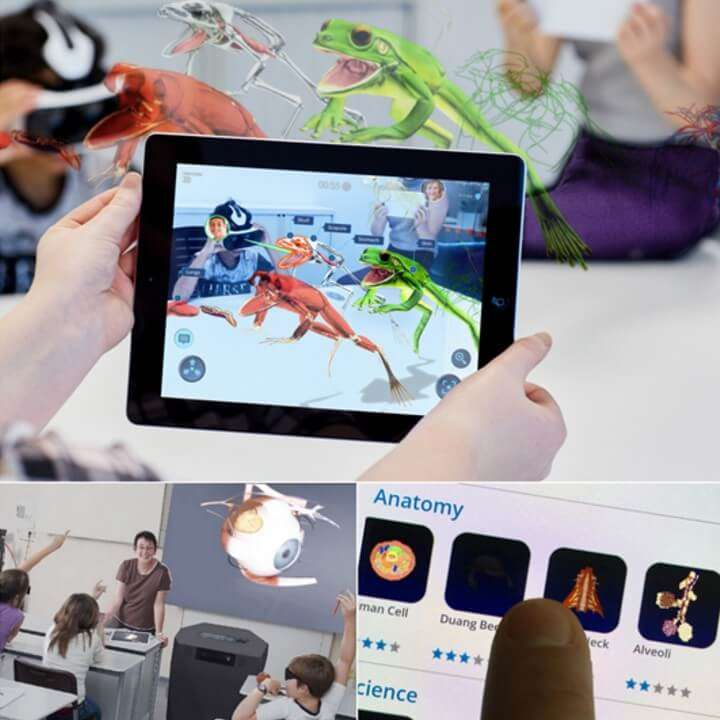 Child holding ipad showing Augmented reality frogs jumping